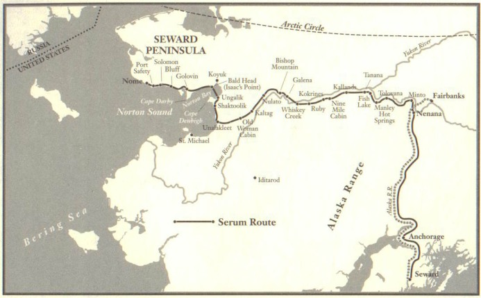 Map of the Serum Run, January 1925, from The Cruelest Miles